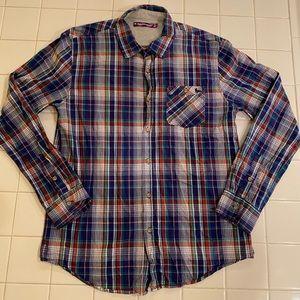 Modern Amusement Blue Plaid Flannel Button Down